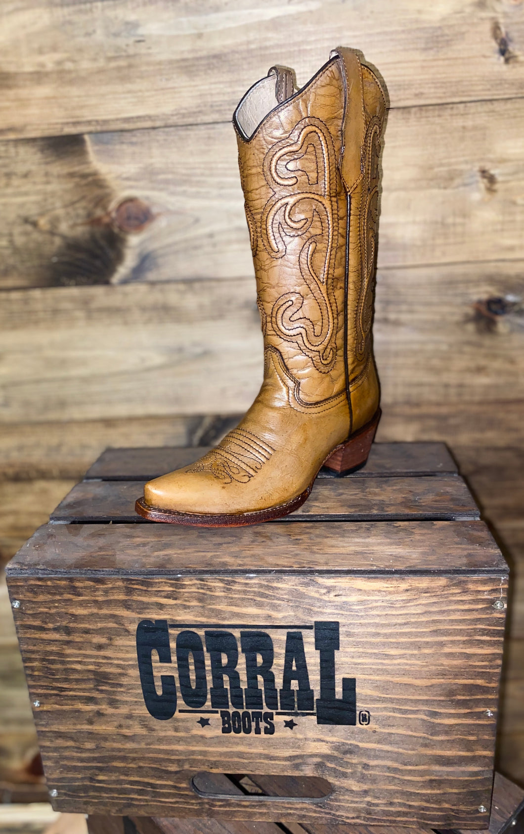 Circle G Brown Corded Embroidery Corral Boots