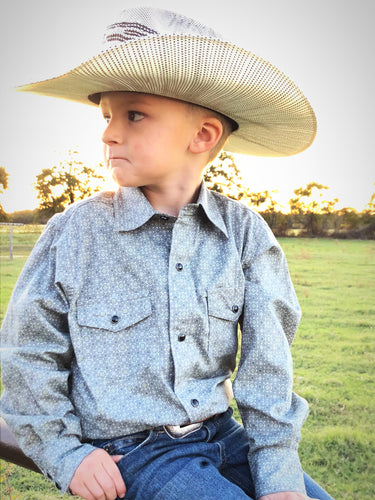 Boys Cinch Grey Pebble Long Sleeve Button Down