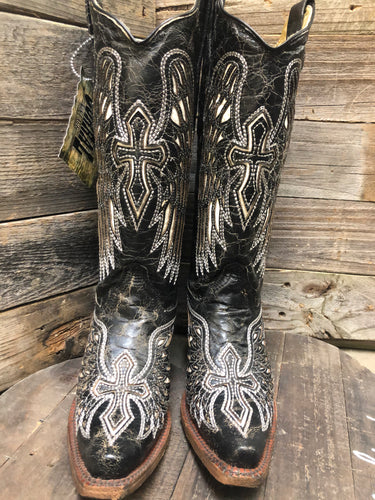 Corral Boots Wing and Cross Black and Bone