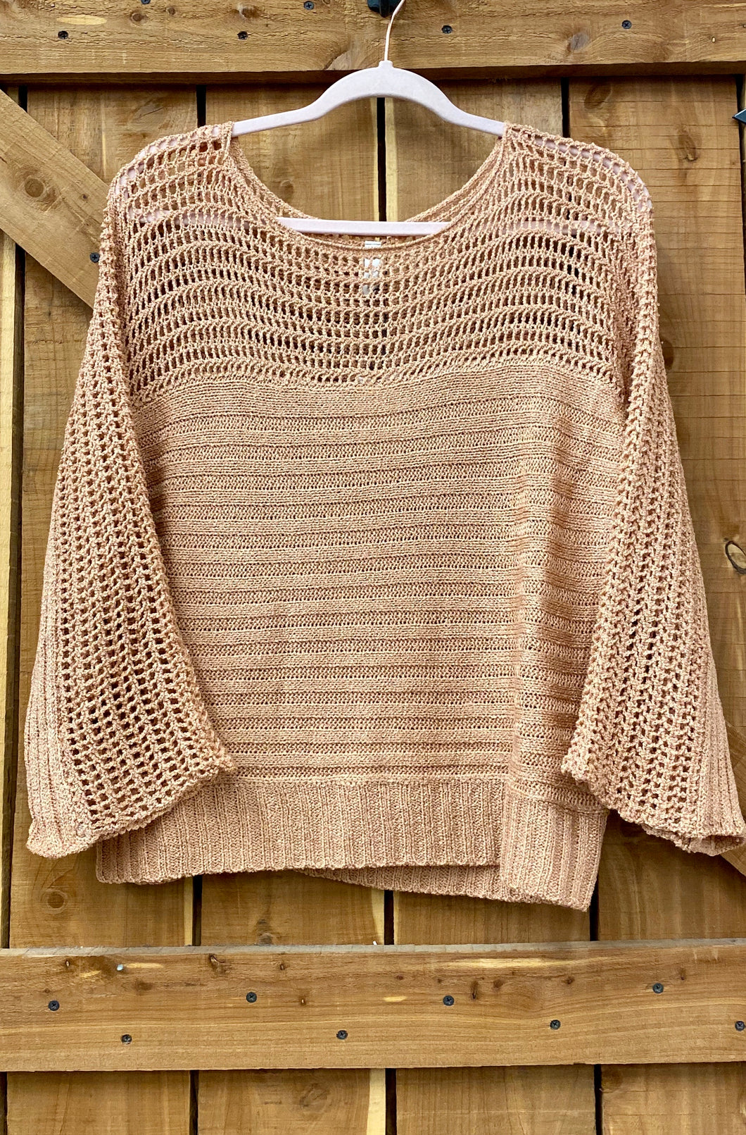Open Knit Rose Sweater