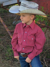 Boys Red Cinch Geometric Print Snap Down Western Shirt