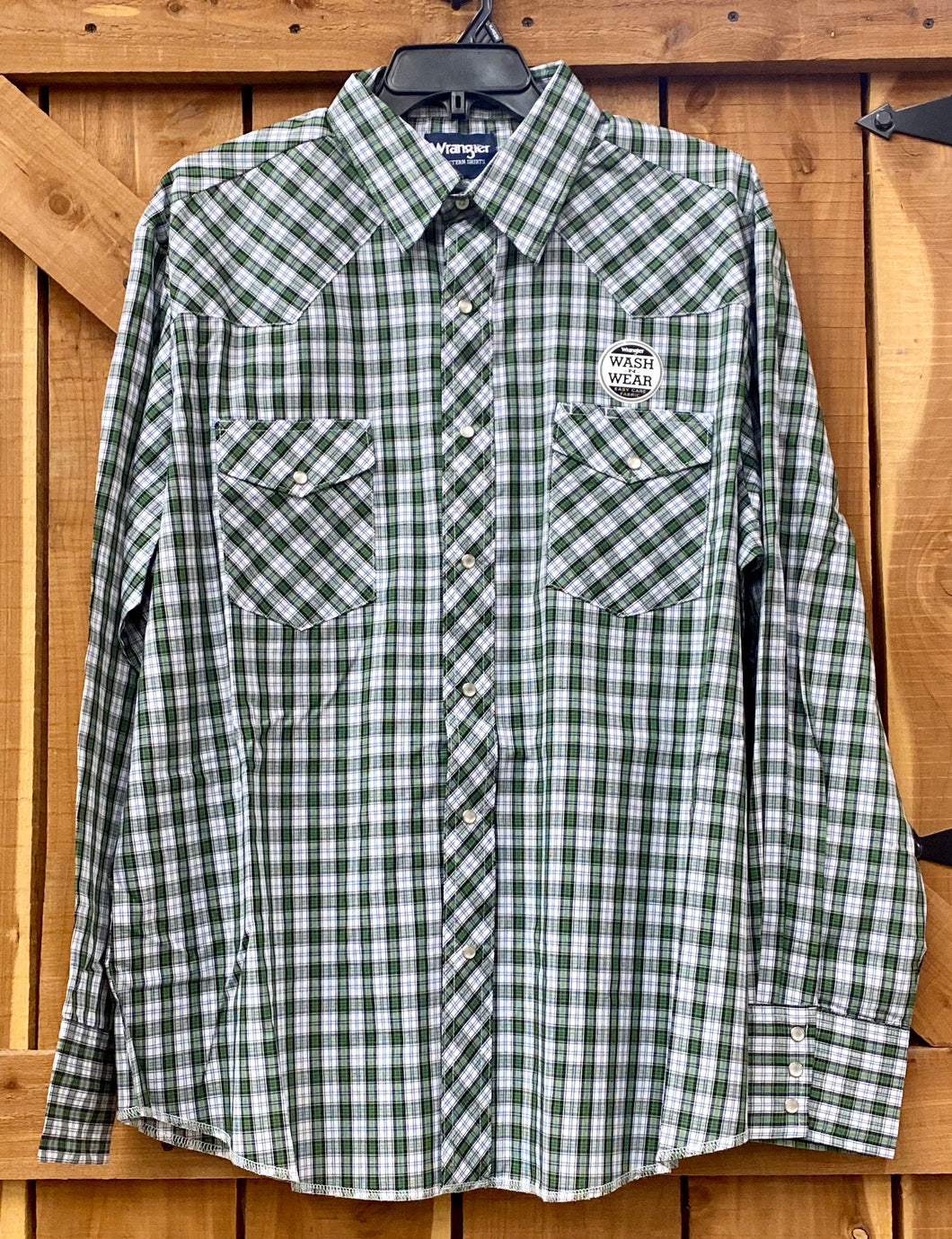 Wrangler Long Sleeve Pearl Snap Green and Black plaid shirt