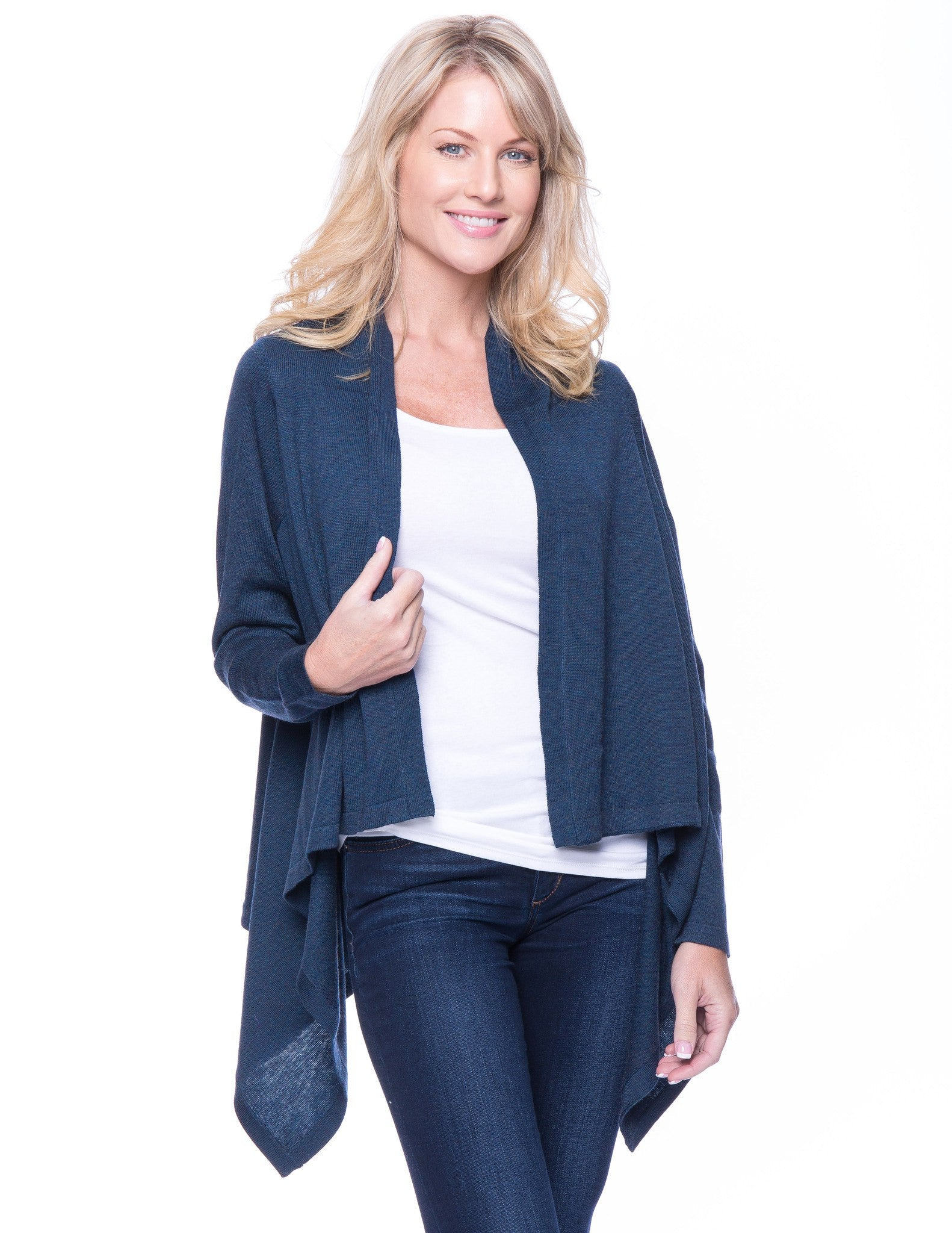 Wool Blend Open Cardigan - Teal