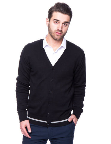 100% Cotton Cardigan Sweater - Black
