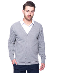100% Cotton Cardigan Sweater - Heather Grey