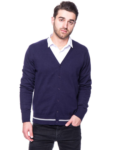 100% Cotton Cardigan Sweater - Navy