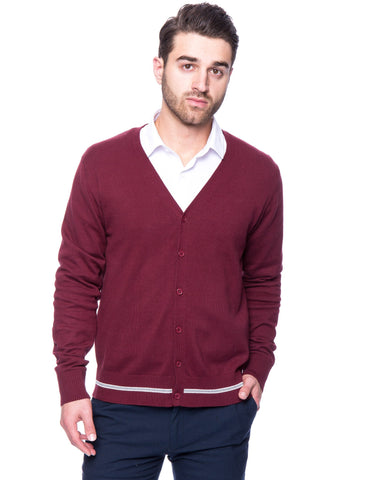 100% Cotton Cardigan Sweater - Burgandy