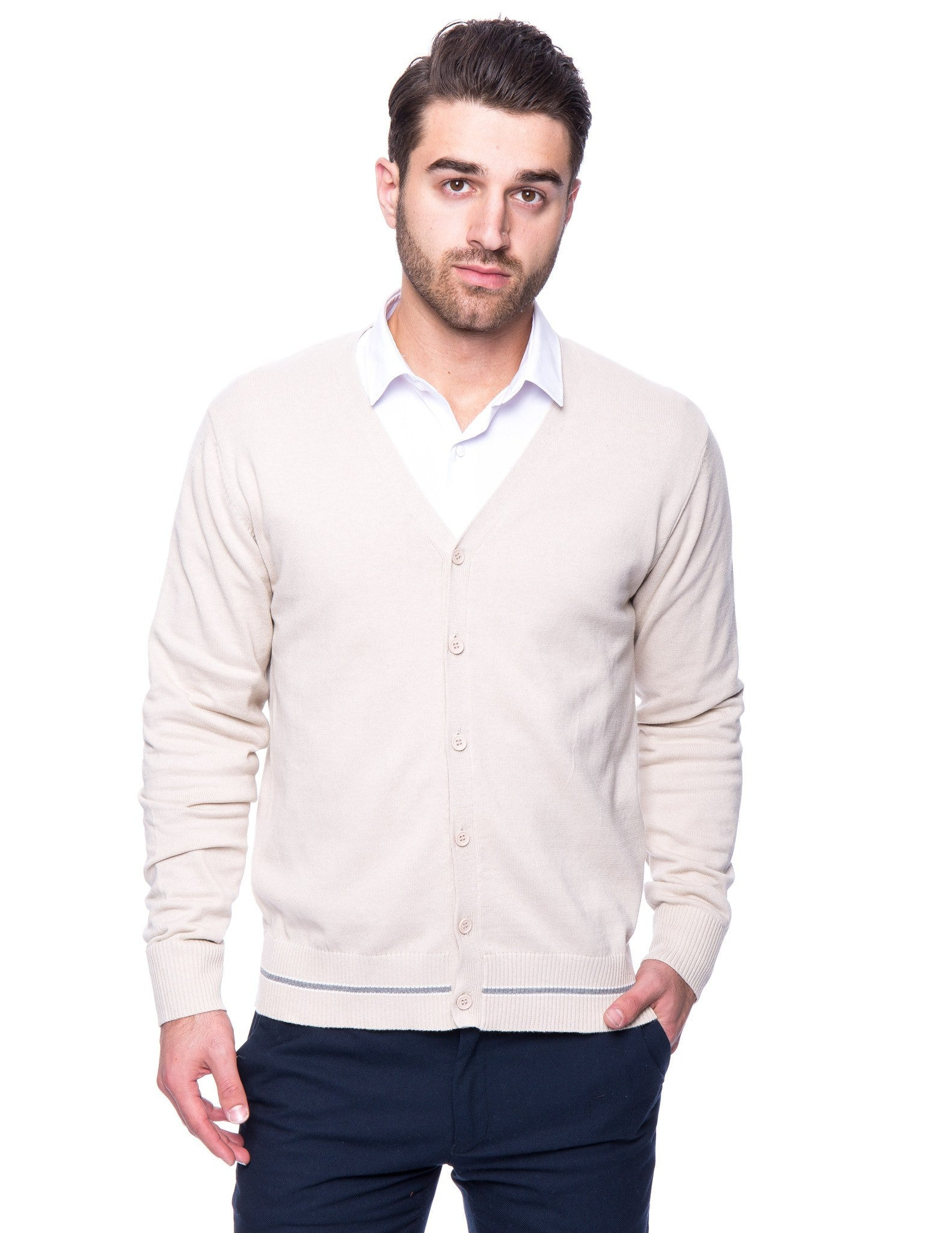 100% Cotton Cardigan Sweater - Stone