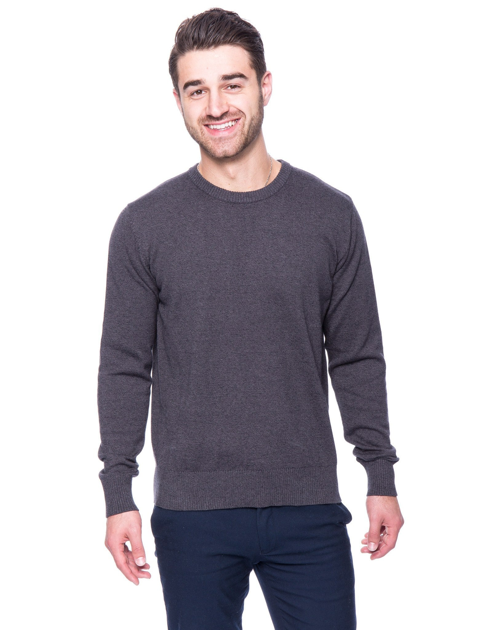 Cotton Crew Neck Sweater - Marl Charcoal/Black