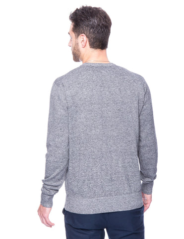 Cotton Crew Neck Sweater - Marl Black/White