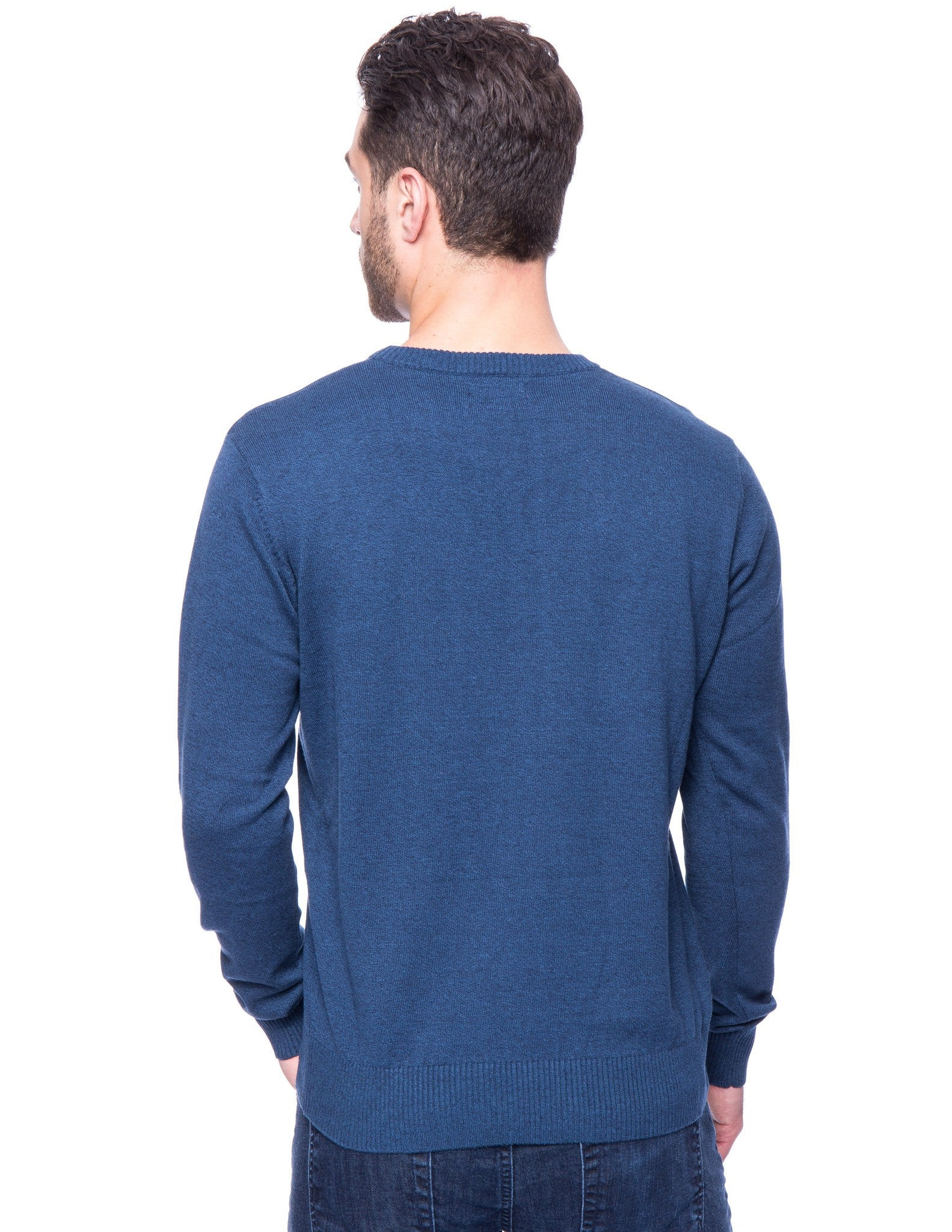 Cotton Crew Neck Sweater - Marl Navy/Teal