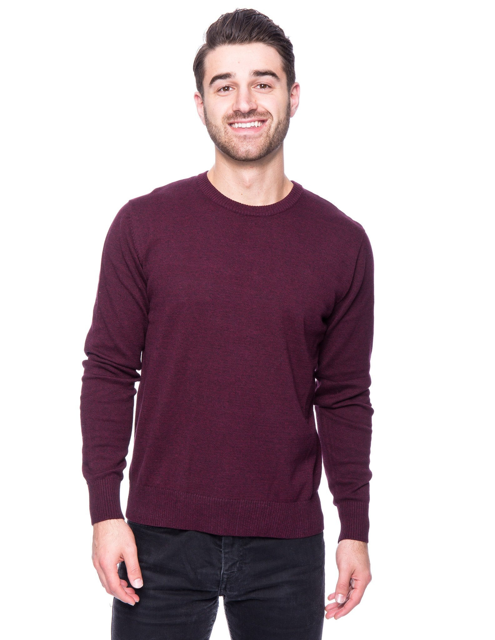 Cotton Crew Neck Sweater - Marl Purple/Black