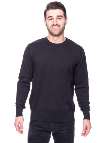 Cotton Crew Neck Sweater - Black