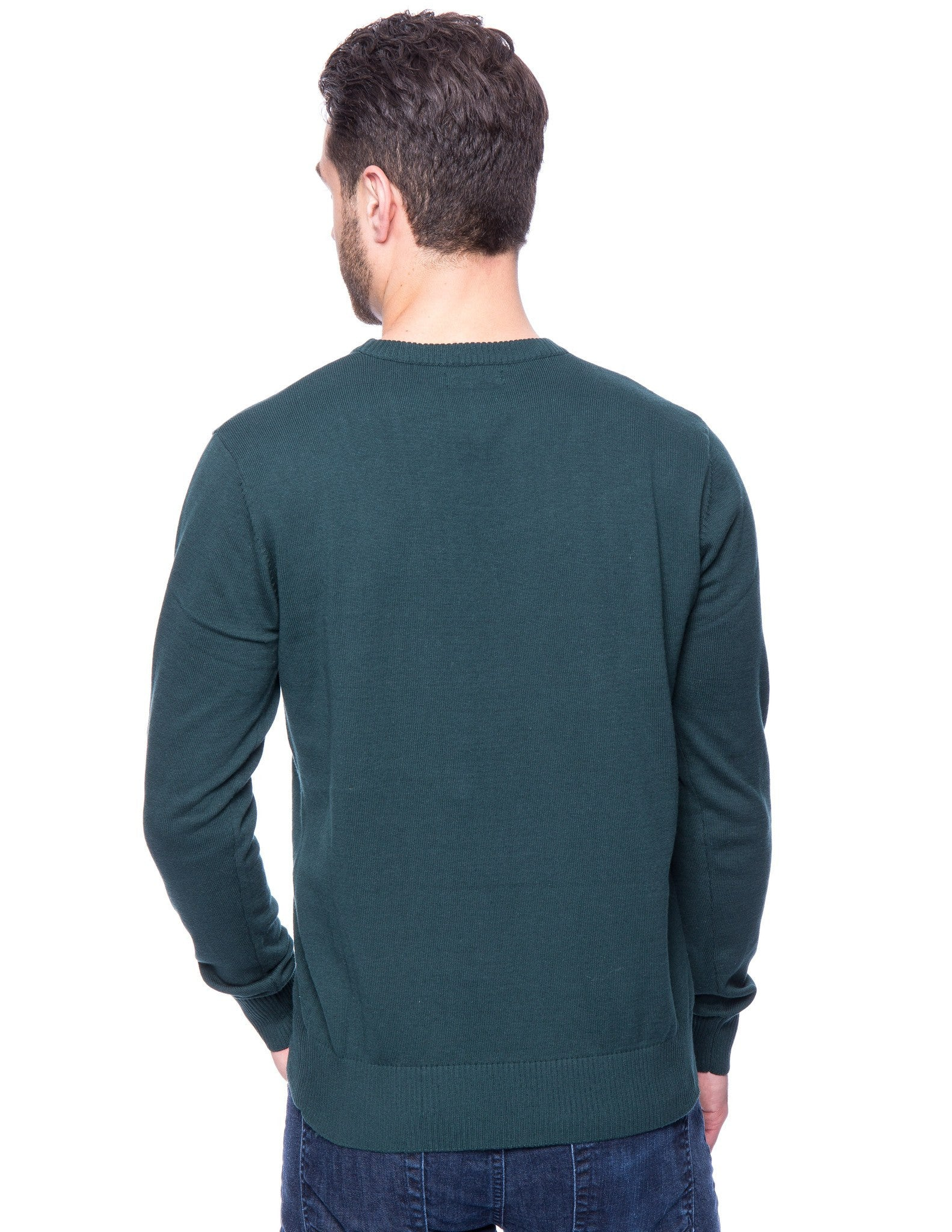 Cotton Crew Neck Sweater - Green