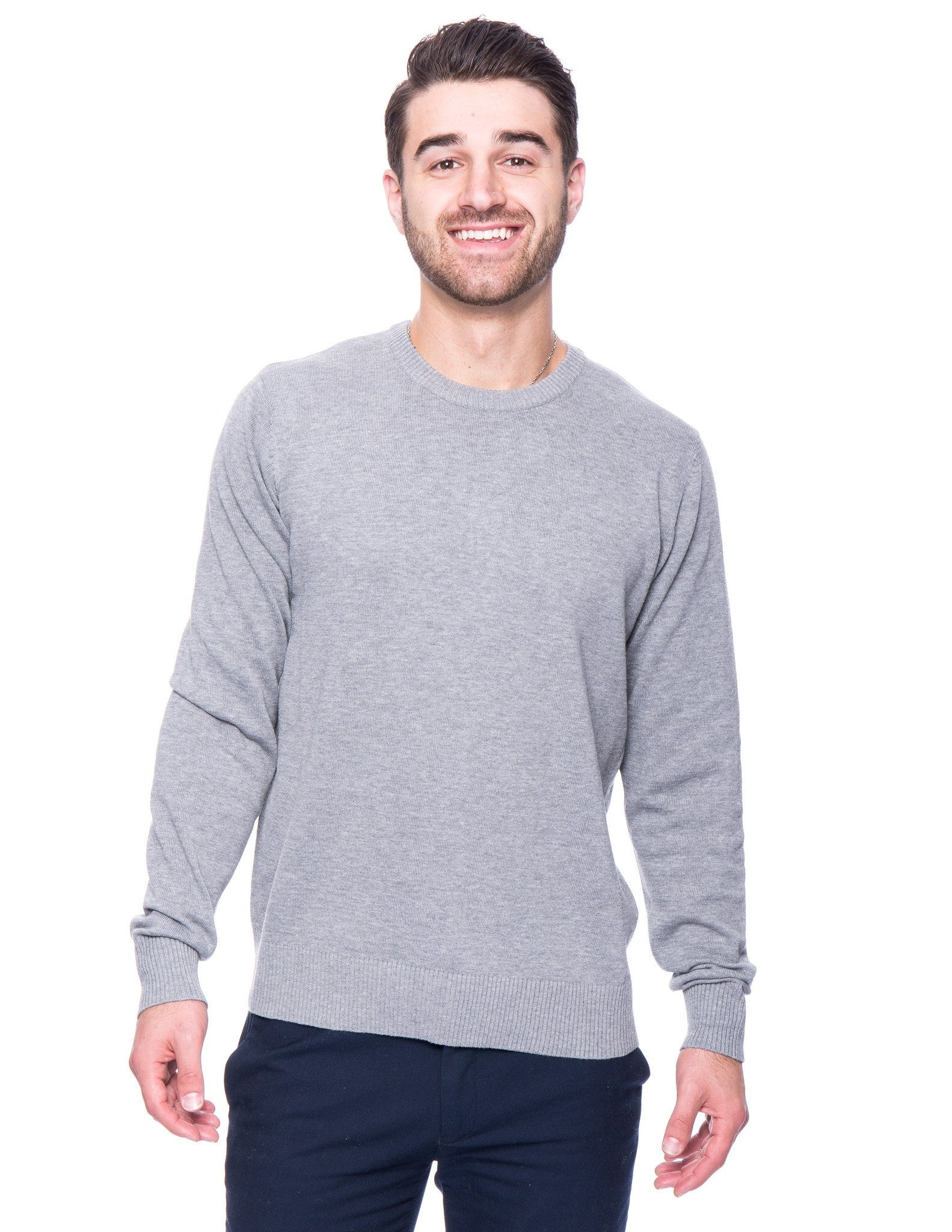 Cotton Crew Neck Sweater - Heather Grey