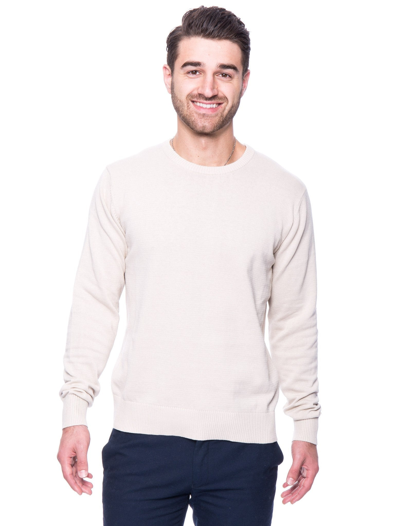 Cotton Crew Neck Sweater - Stone