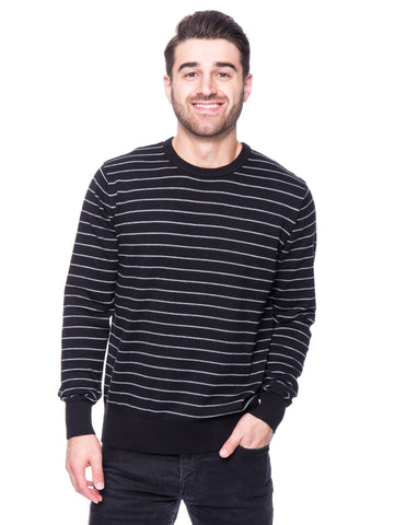 Cotton Crew Neck Sweater - Stripes Black/Heather Grey