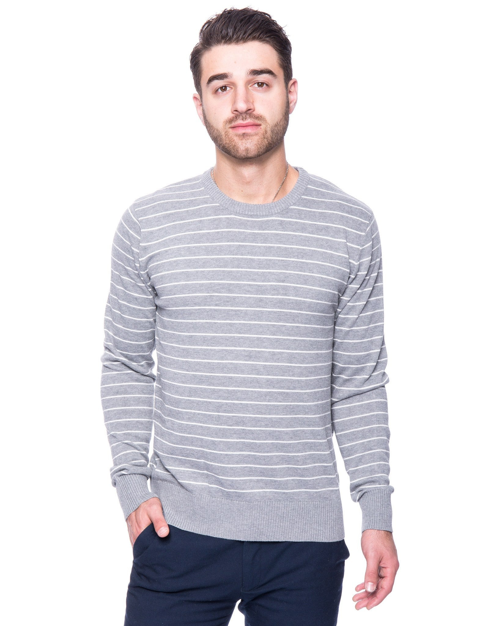 bda38b13f Tocco Reale Men's Cotton Crew Neck Sweater - Stripes Heather Grey/Ivory