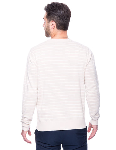 Cotton Crew Neck Sweater - Stripes Stone/Ivory
