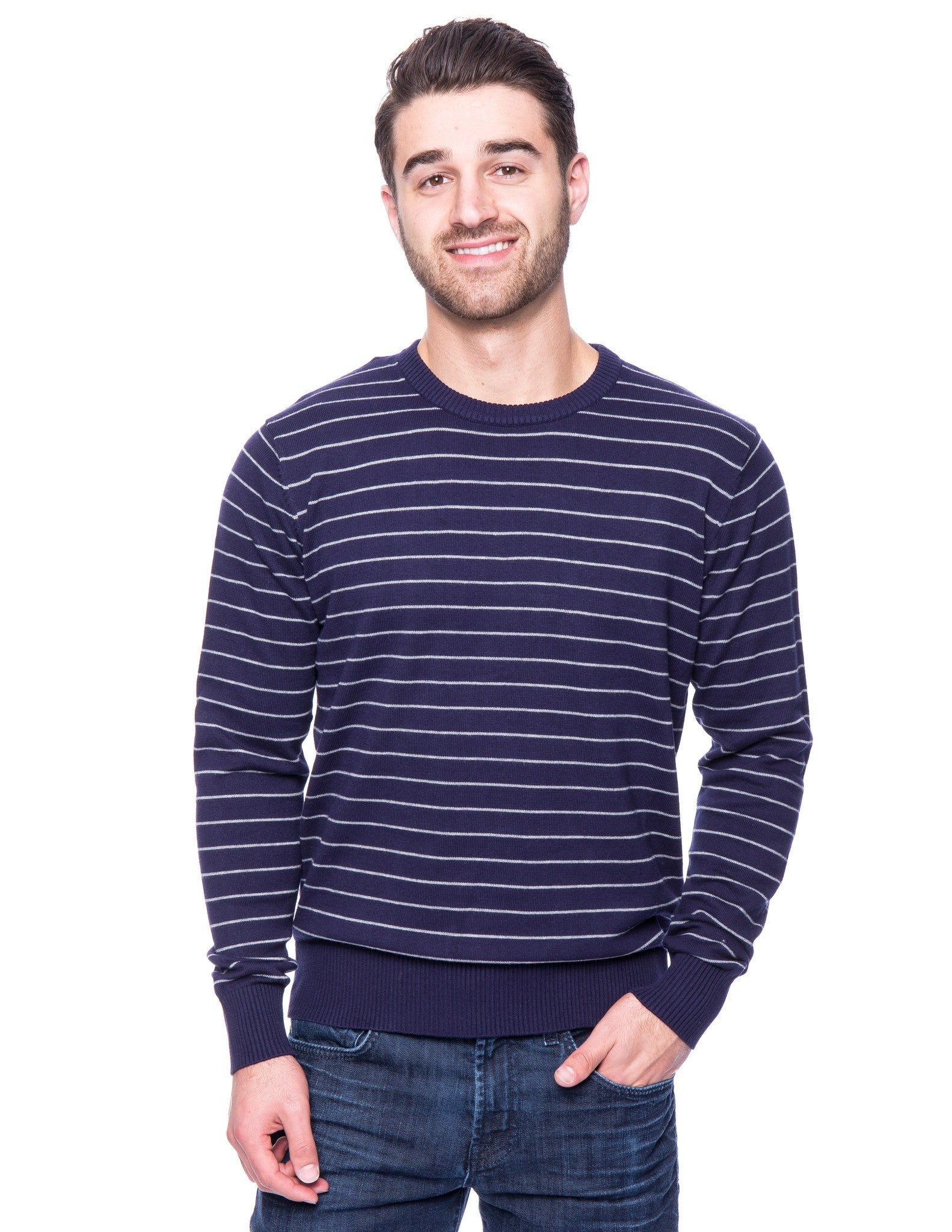 Cotton Crew Neck Sweater - Stripes Navy/Heather Grey