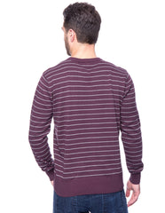 Cotton Crew Neck Sweater - Stripes Purple/Heather Grey