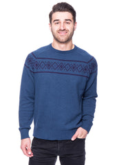 100% Cotton Crew Neck Sweater with Fair Isle Stripe - Marl Navy/Teal