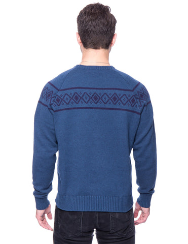 Tocco Reale Gift Packaged Men's 100% Cotton Crew Neck Sweater with Fair Isle Stripe - Marl Navy/Teal