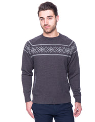100% Cotton Crew Neck Sweater with Fair Isle Stripe - Marl Charcoal/Black