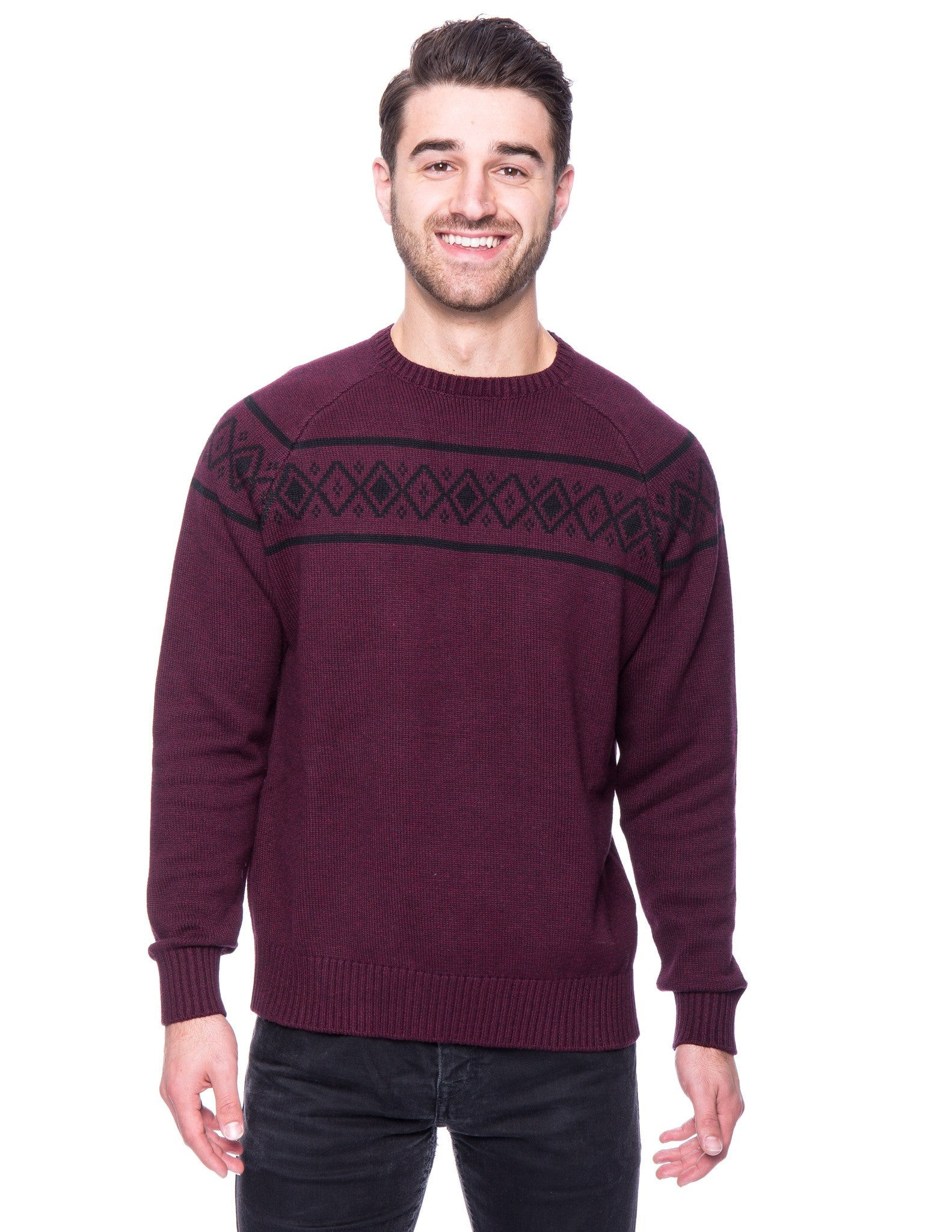 100% Cotton Crew Neck Sweater with Fair Isle Stripe - Marl Burgundy/Black