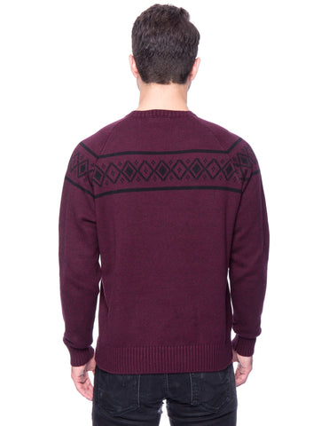 Tocco Reale Gift Packaged Men's 100% Cotton Crew Neck Sweater with Fair Isle Stripe - Marl Burgundy/Black