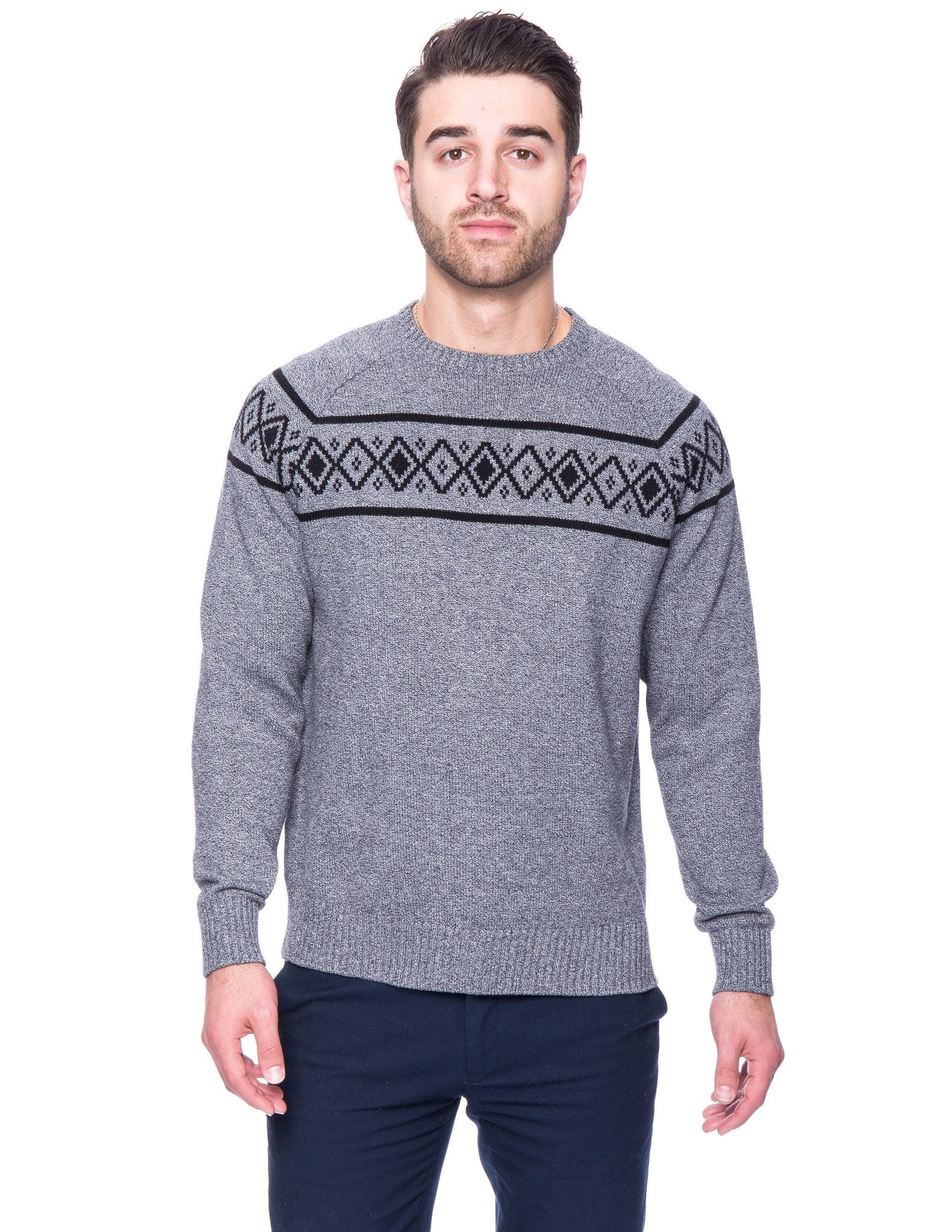 100% Cotton Crew Neck Sweater with Fair Isle Stripe - Marl Black/White
