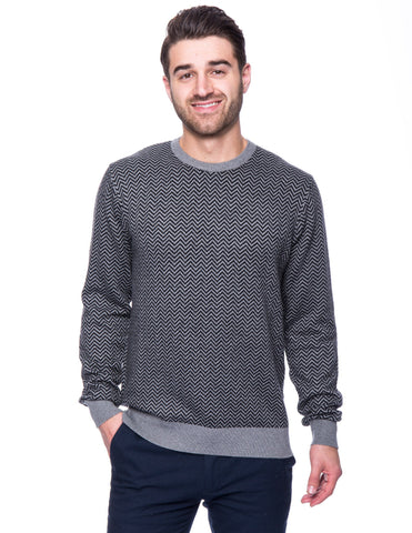 Cashmere Blend Crew Neck Sweater - Chevron Black/Grey