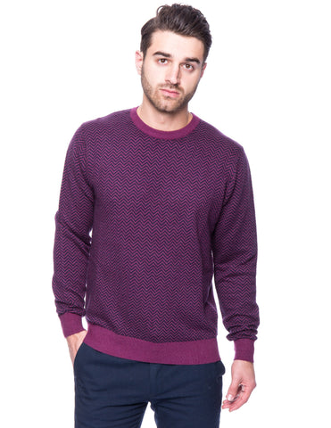 Cashmere Blend Crew Neck Sweater - Chevron Purple/Navy