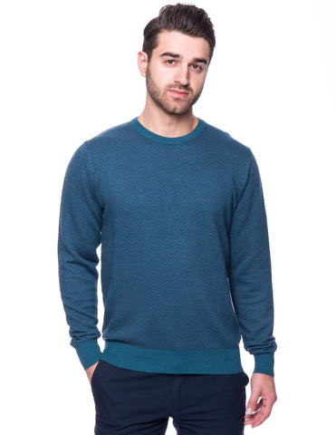 Cashmere Blend Crew Neck Sweater - Chevron Teal
