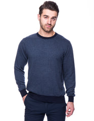 Cashmere Blend Crew Neck Sweater - Chevron Navy/Denim