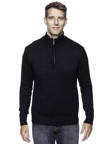 Cashmere Blend Half Zip Pullover Sweater - Black