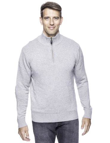 Cashmere Blend Half Zip Pullover Sweater - Heather Grey