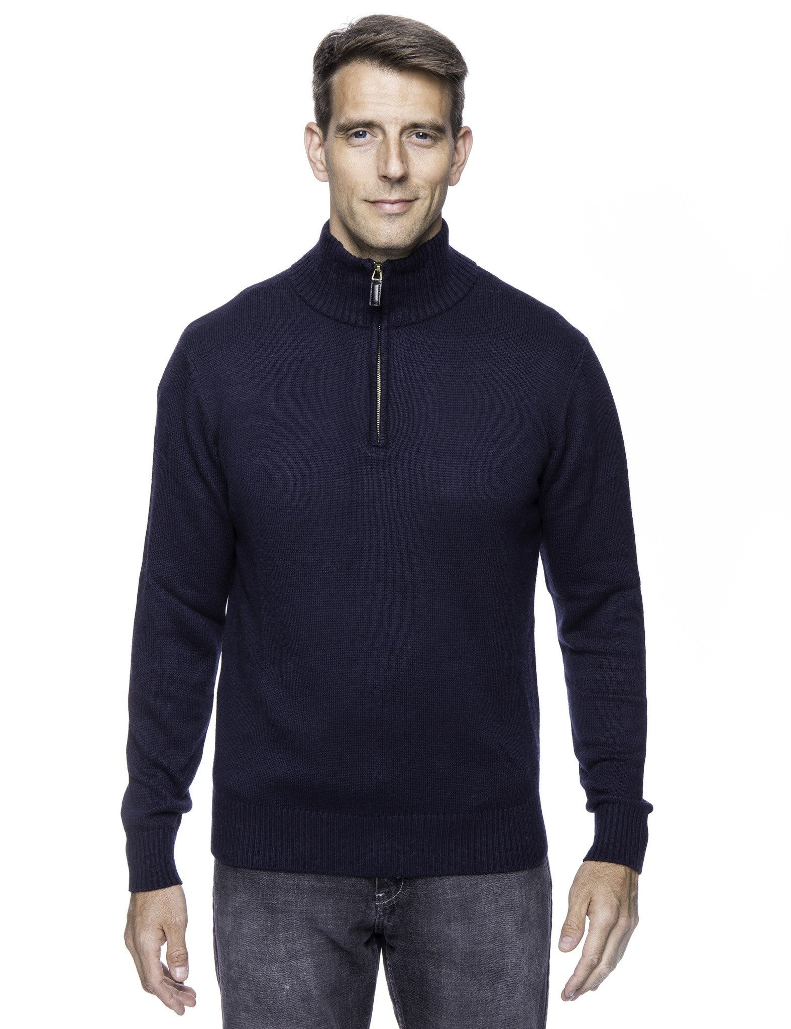 Cashmere Blend Half Zip Pullover Sweater - Navy