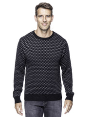 Wool Blend Crew Neck Pullover Sweater with Jacquard Effect - Black/Heather Grey