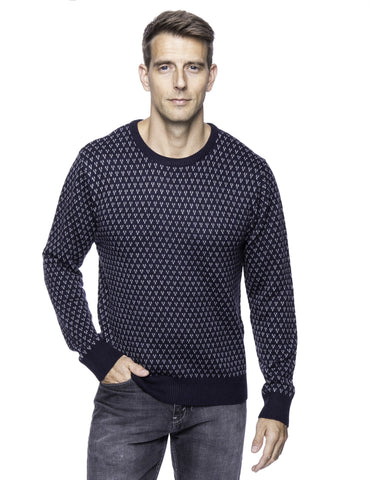 Wool Blend Crew Neck Pullover Sweater with Jacquard Effect - Navy/Heather Grey