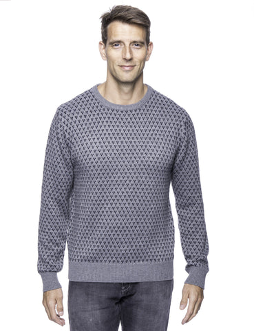 Wool Blend Crew Neck Pullover Sweater with Jacquard Effect - Heather Grey/Navy