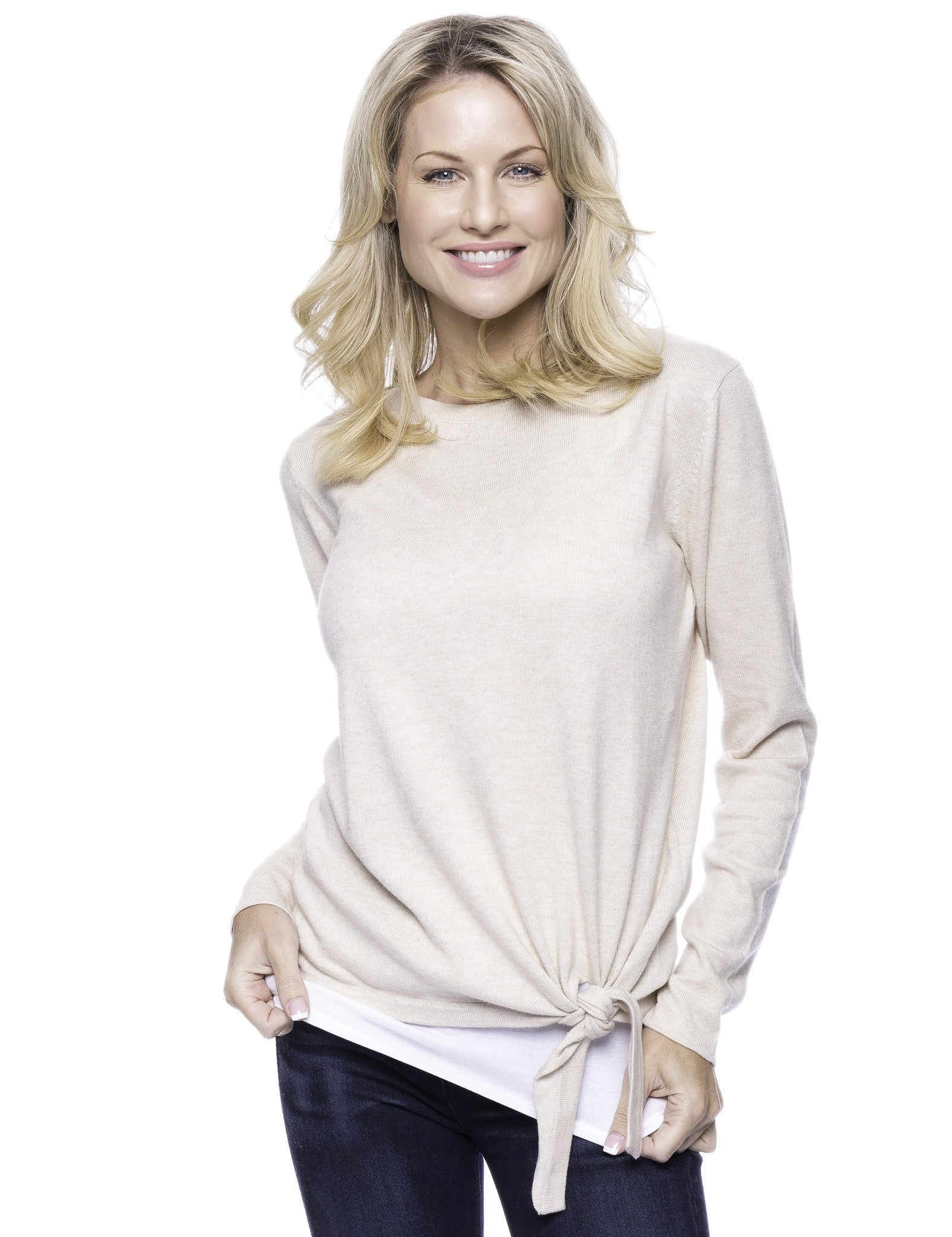 Cashmere Blend Bateau Neck Sweater with Hem Tie - Oatmeal