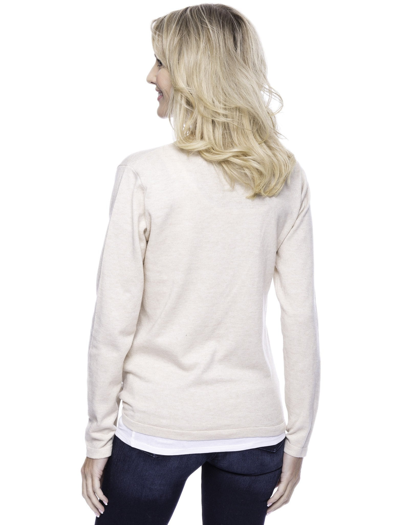 Tocco Reale Women's Cashmere Blend Bateau Neck Sweater with Hem Tie - Oatmeal
