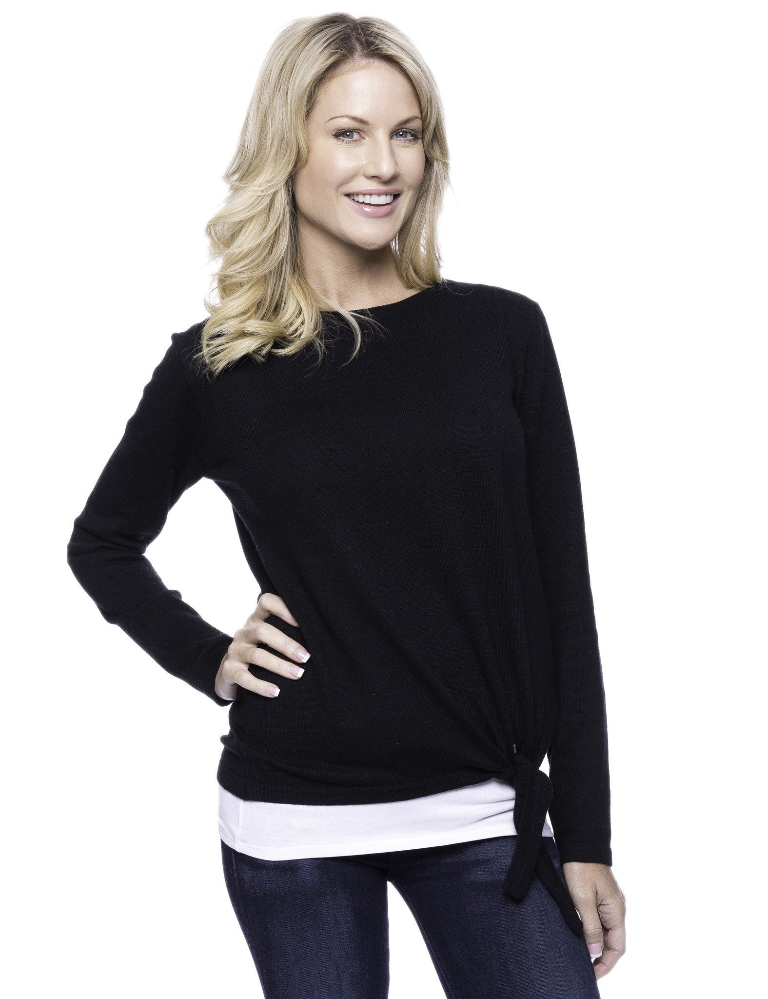 Cashmere Blend Bateau Neck Sweater with Hem Tie - Black