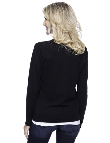 Tocco Reale Women's Cashmere Blend Bateau Neck Sweater with Hem Tie - Black