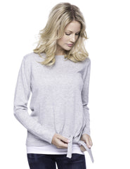 Tocco Reale Women's Cashmere Blend Bateau Neck Sweater with Hem Tie - Grey