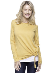 Cashmere Blend Bateau Neck Sweater with Hem Tie - Mustard