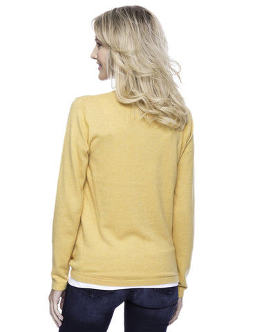 Tocco Reale Women's Cashmere Blend Bateau Neck Sweater with Hem Tie - Mustard