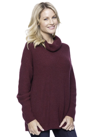Cashmere Blend Cowl Neck Sweater - Bordeaux