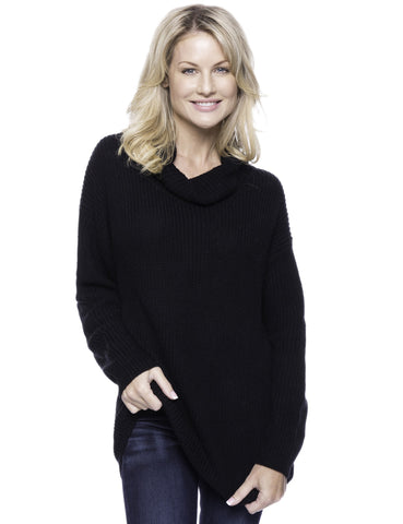Cashmere Blend Cowl Neck Sweater - Black